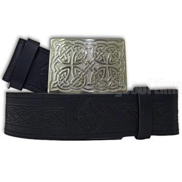 Leather embossed kilt belt and buckle